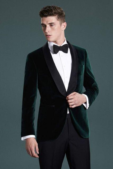 3ed893e0a8d3 High Quality Dark Green Velvet Mens Suits Groom Tuxedos Groomsmen Wedding  Party Dinner Best Man Suits (Jacket+Pants+Tie) K:2729