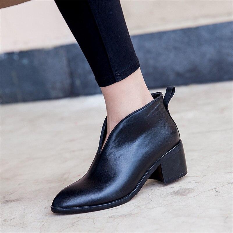 Zapatos Bombas Tacón Tobillo Calidad Oficina Mujer Invierno Botas Alto Otoño Cuero Nuevo De Cálido Genuino Negro Fedonas Básicas 2019 7fSPT