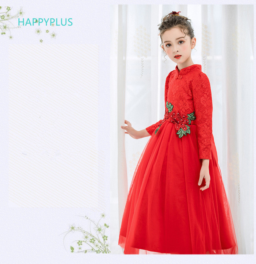Happyplus Holiday Red Dress Girl Evening Party Dress Long Sleeve