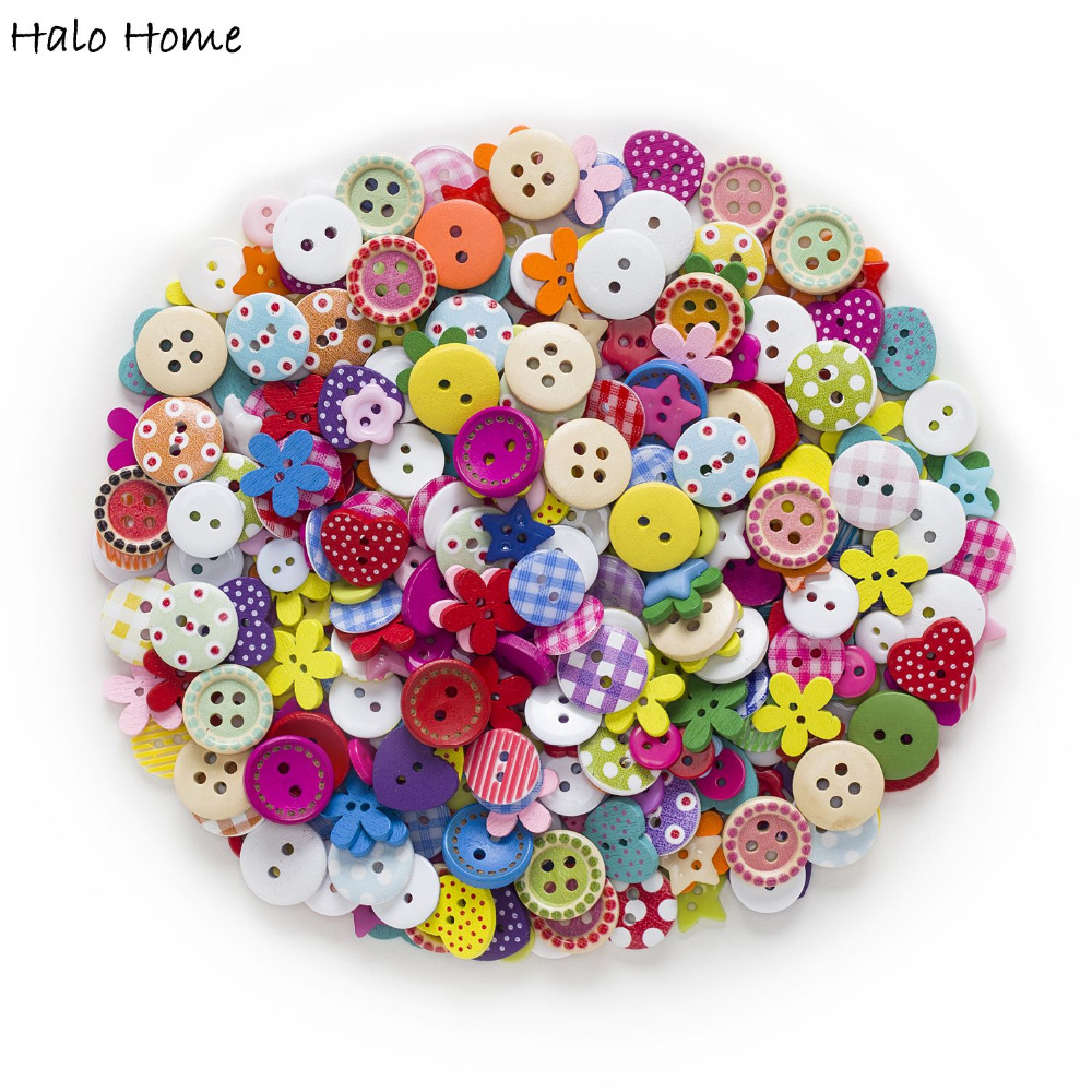 Top Quality Rich Style 40 Gram Buttons Hiasan Cute Sweety Wood Resin Promosi Mixed Sewing Scrapbook DIY Making 9-15mm