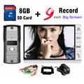 Новый 9 Дюймов Большой Экран + 8 ГБ SD Card Запись Видео-Телефон Двери Домофон Открытый водонепроницаемый Дверной Звонок Камеры интерком Дверной звонок