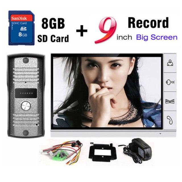 New 9 Inch Big Screen+8GB SD Card Video Record Door Phone Intercom System Outdoor waterproof Doorbell Camera Intercom Door bell