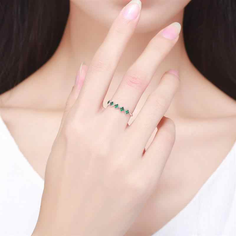 Jiayiqi clássico simples anel feminino 925 prata esterlina zircônia cristal dedo anel de noivado casamento na moda jóias de prata presente