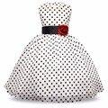 Новое Прибытие 2017 Принцесса Летние Девушки Одеваются Классический Белый Черный Горошек Дети Танцуют Платья Для Маленькой Девочки Туту Платья
