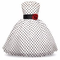 New Arrival 2017 Princess Summer Girl Dress Classic White Black Polka Dots Children Dancing Dresses For