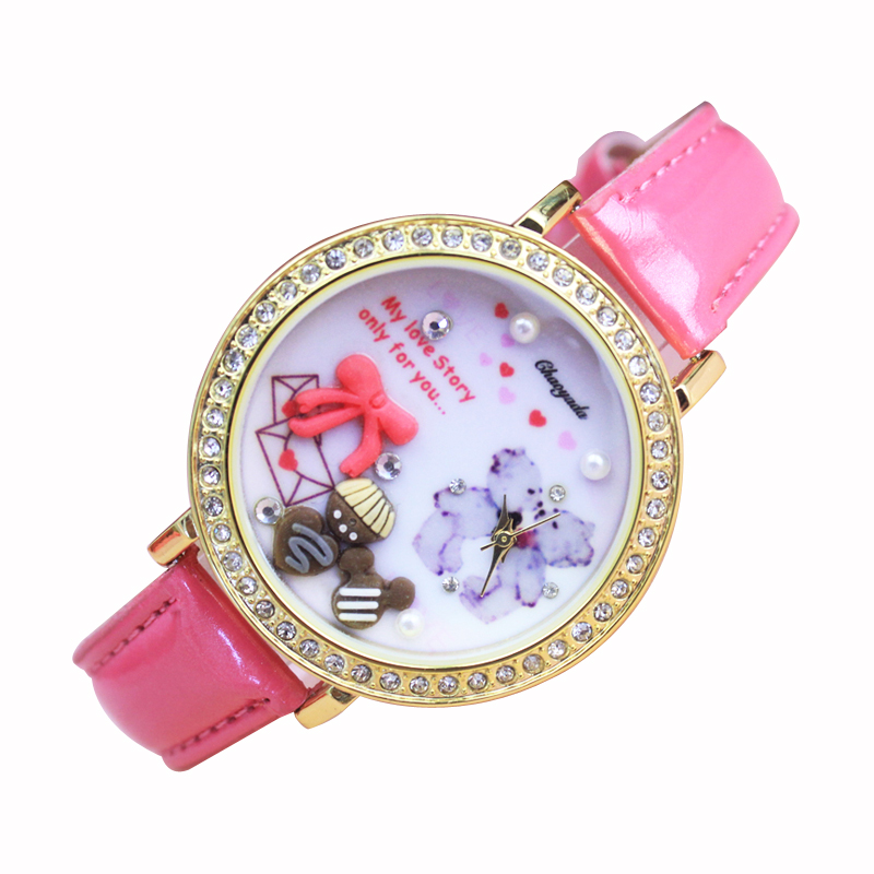 2018 High Quality Quatrz Watch Girls Children Leather Fashion Lovely Watch Relief Holiday Birthday Personality Gift Watches