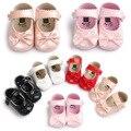 ROMIRUS Pearly Lindo Color de los Bebés Zapatos de La Mariposa-nudo Clásico Zapatos de La Princesa Zapatos de Bebé Suaves Primeros Caminante
