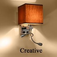 الحديث led نسيج + الحديد الجدار مصباح الديكور أنبوب مزدوج التبديل الإضاءة القراءة السرير أسود/أبيض/البني/الكتان