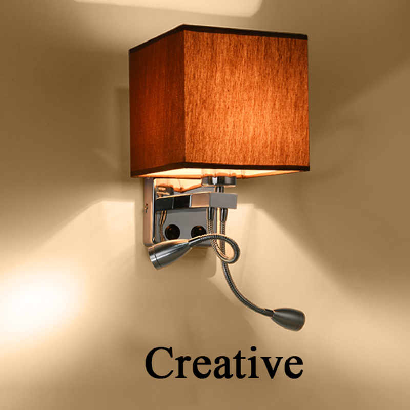 Modern LED Fabric + Iron Wall Lamp decoration double tube E27 switch lighting Bedroom reading Bedside  black/white/brown/linen