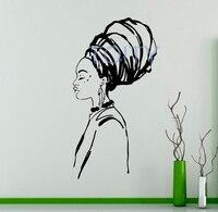 African Girl Wall Decal Folk Hairstyle Vinyl StickerWoman Beauty Art Decor Poster Room Mural H108cm x W57cm