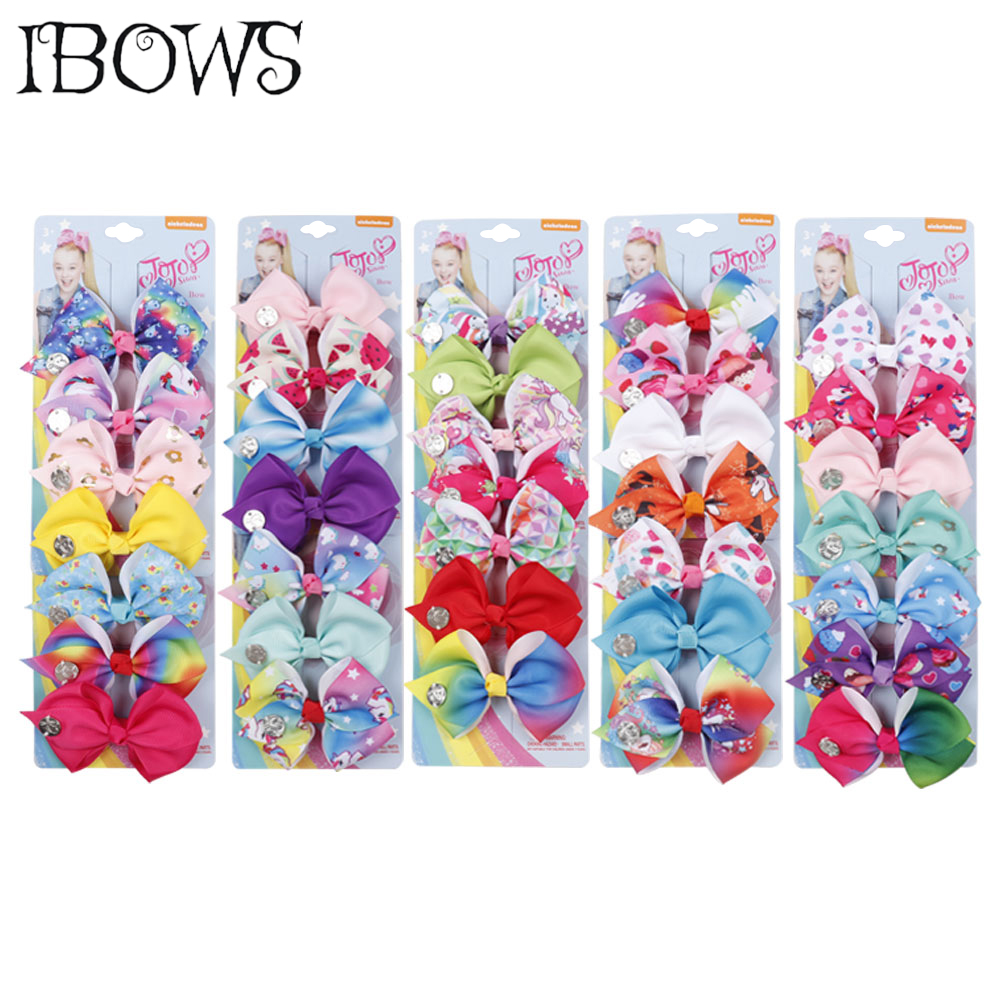 7 Pieces/Set Kawaii Rainbow Hair Clips Lovely Unicorn Hair Bows For Kids/Children/Girls Hair accessories Hairgrips