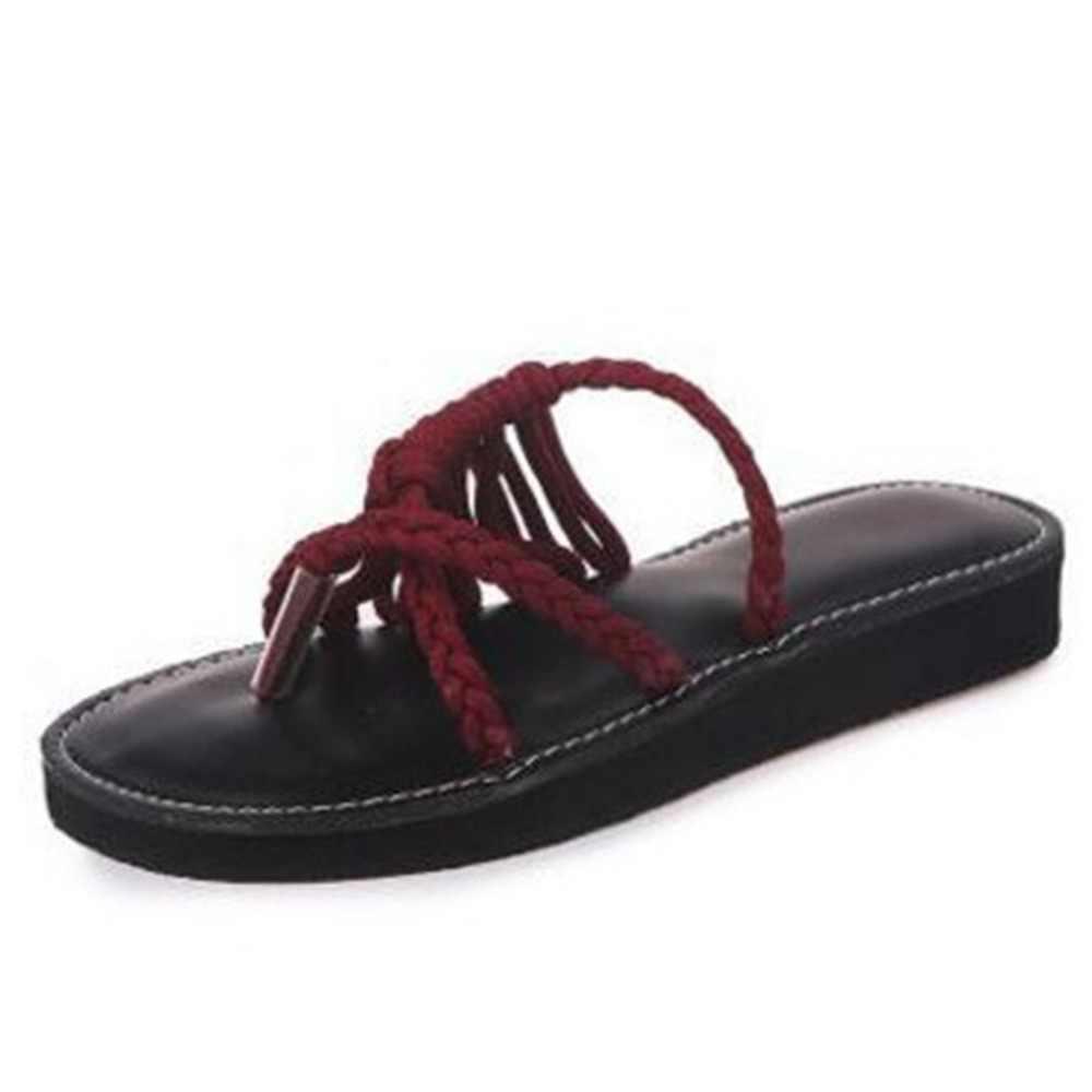 7044e5bf8 ... 2018 New Summer Shoes Flat Women Ladies Sexy Open Tie Nylon Rope Beach  Flats Slip-