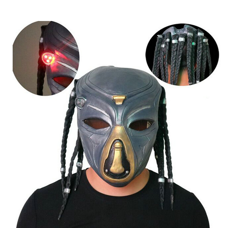 Wolf Predator Masque Masks With Headwear The Predator Latex Mask LED Flash Light Colorful Mask Halloween Cosplay Costume Props