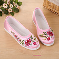 2017 Spring Autumn Embroidery Women Flats Flower Slip On Cotton Fabric Comfortable Old Peking Ballerina wedding Shoes