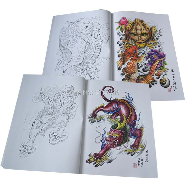 Tattoo Book Flash New Dragon Tribe Designs Works Manuscripts Sketch 3d Art Body Sketchbook Painting Kits