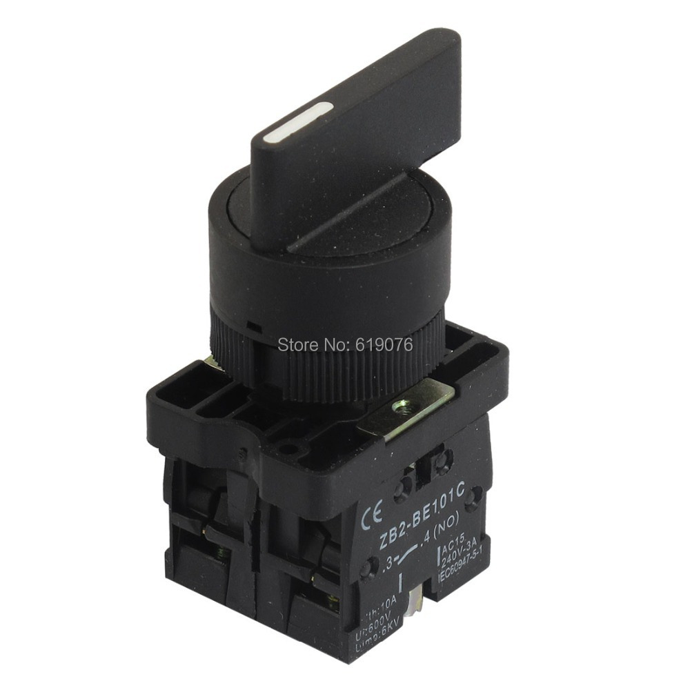 22mm Latching 2 NO Long Handle 3-Position Rotary Selector Switch ZB2-EJ33 660v ui 10a ith 8 terminals rotary cam universal changeover combination switch