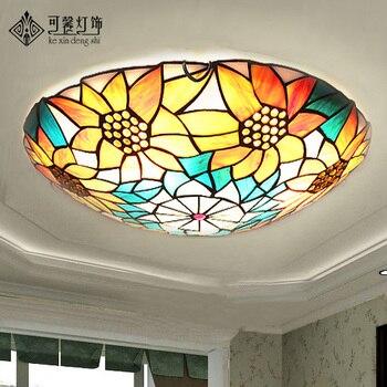 European Garden sunflower ceiling lamps, modern minimalist bedroom study living room lamps lighting LED lamp iron Yang