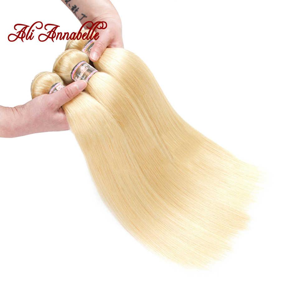 Ali Annabelle волосы бразильские прямые 3 пучка с 13*4 синтетический фронтальный Закрытие 100% человеческих волос Ткачество 613 блонд remy волосы