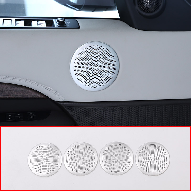 Aluminum alloy Car Door Speaker Sound Cover Trim Ring For Land Rover Discovery 5 2017 Car Accessories 4pcs/set 2pcs for land rover defender 110 for landrover defender 90 car interior matte chrome aluminum alloy grab handle trim accessories