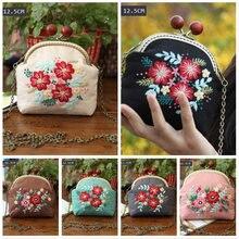 Fácil bordado diy flores sacos bolsa carteira bolsa, ponto cruz kit para iniciante costura artesanato presentes amigo