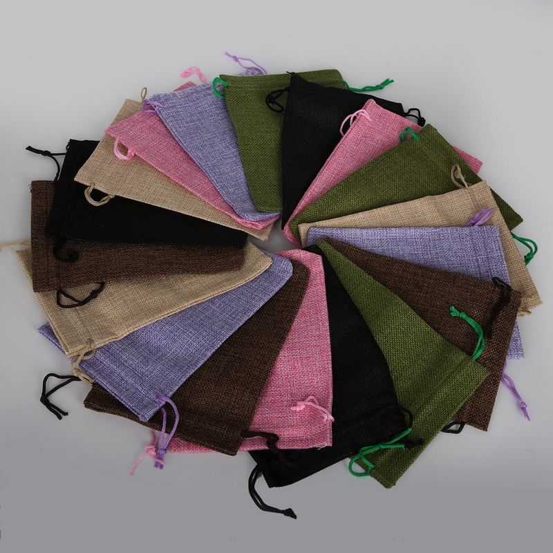 13x18cm Cotton Linen Drawstring Gift Pouch Bags Birthday Wedding Party Candy Necklace Jewelry Favor Holder Packaging
