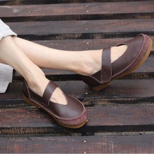 The first layer of leather soft bottom comfortable womens shoes cotton and linen flat with casual single