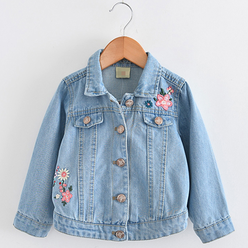 Girls Jackets 2018 Brand Autumn Winter Princess Girls Clothing Embroidered Flowers Outerwear Love Florals Back Kids Jackets Coat цена 2017