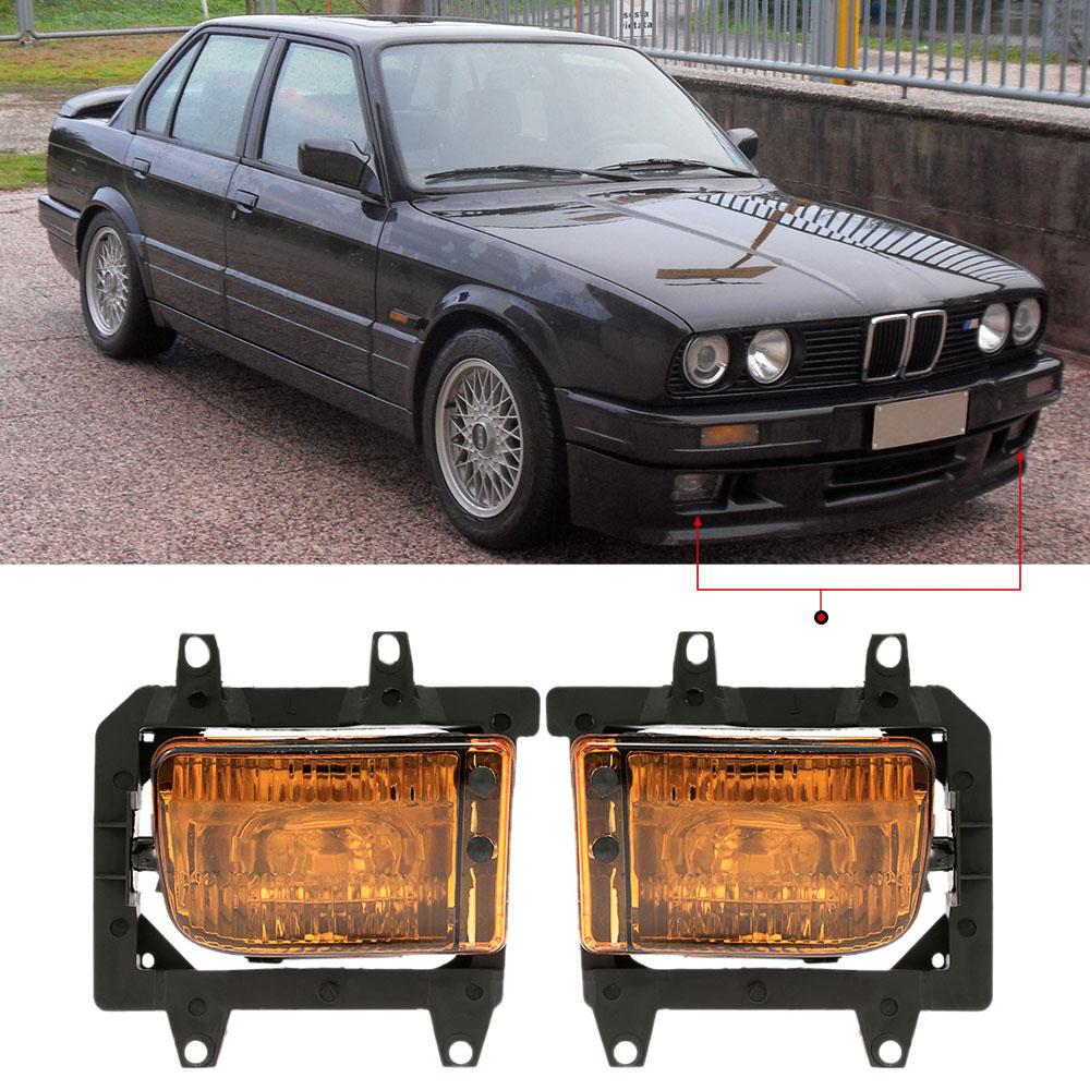 Prix pour Pour BMW E30 3-Series 1985-1993 Une Paire de Gauche Droite avant Inférieur Bumper Fog Light Ombre Abat-Jour Transparent Lentille En Plastique Kit