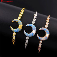 WholesaleTelescopic Pulseira jóias finas cobre embutidos CZ em forma de meia lua para as mulheres pulseira feminina pulseiras & bangles