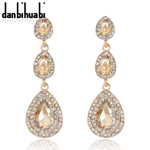Top Luxury Champagne Crystal Earrings Gold Color Jewelry Fashion Female Bricons Wedding Long Drop