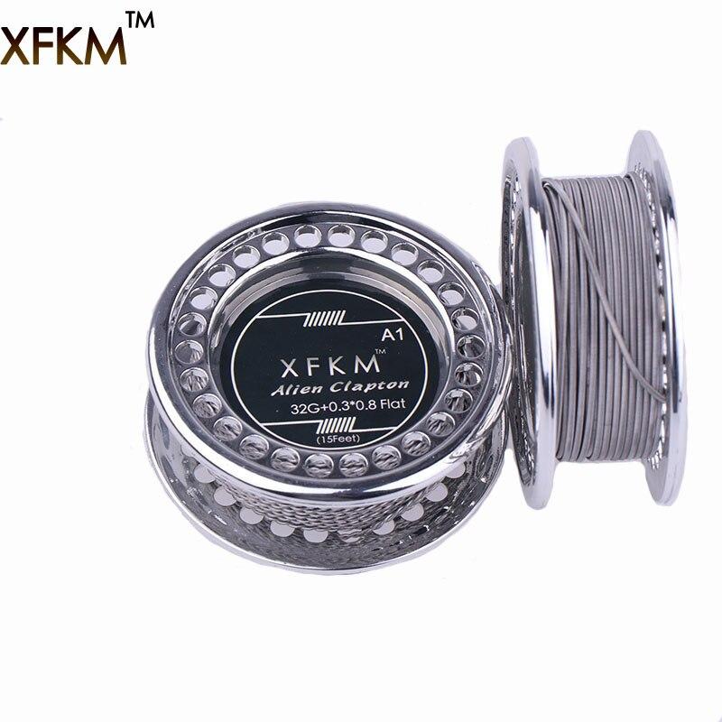 Xfkm ni80/a1/316 5 m/rolo alienígena fundido clapton para rda rba rebuildable atomizador aquecimento fios bobina ferramenta alienígena fio de aquecimento clapton