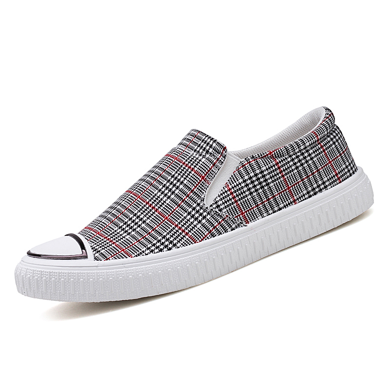 New Summer Men Round Head Lattice Canvas Shoes Korean Version Low Help Breathable Students Board Shoes Male Footwear Loafers Sx3