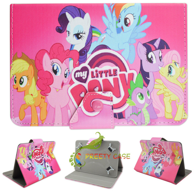 """Universal Cute Mon Petit Poney Style Folio Stand Magnetic Flip PU Leather Stand Cover Case for Apple IPad 2 3 4 9.7"""" Inch Tablet"""