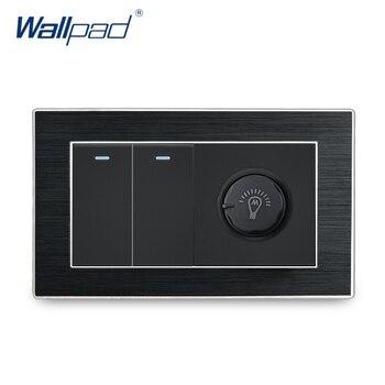 цена на 2 Gang 2 Way with Dimmer Switch Wallpad Luxury On Off Satin Metal Panel Rocker Wall Light Switch + Rotary Brightness Switch