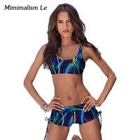 Minimalism Le Brand Bikini 2017 New Push Up Print Patchwork Swimwear Women Swimsuit Sexy Sport Summer