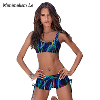 Minimalism Le Brand Bikini 2017 New Push Up Print Patchwork Swimwear Women Swimsuit Sexy Sport Summer