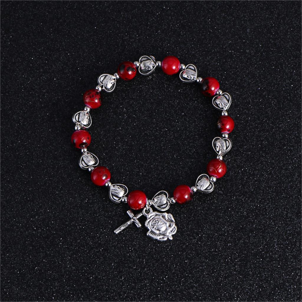 Komi Christian Handmade Rosary Bracelet St Mary Red Stone Beaded Rose Cross Classic Adjustable Bracelets Jewelry Gift R-082
