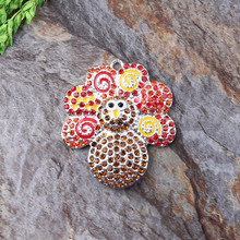 Free Shipping 10pcs/lot Rhinestone Pendant Chunky Baby Necklace Thanksgiving Tukey Pendant