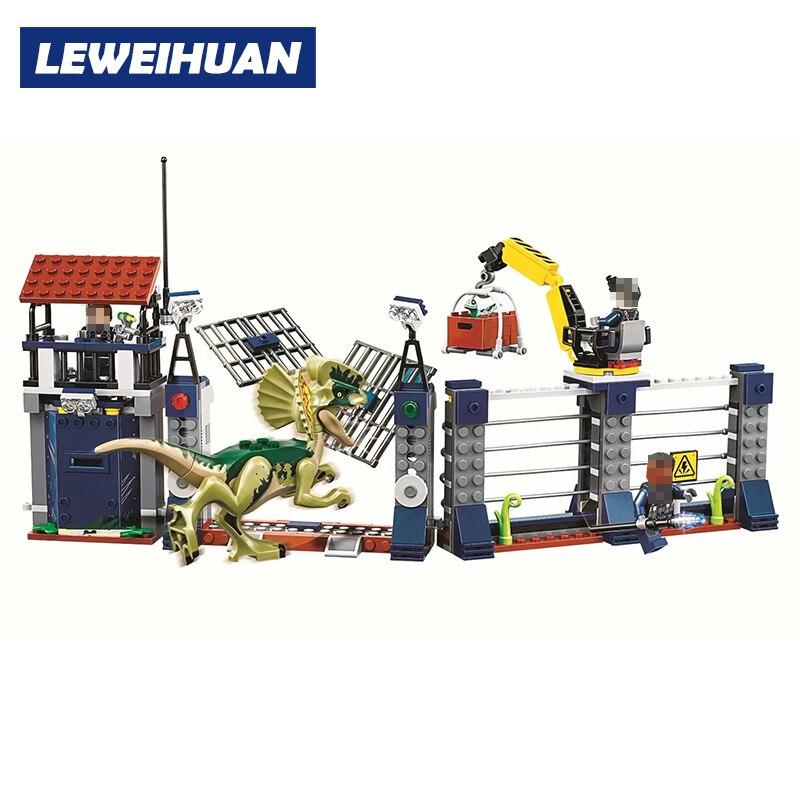 Jurassic World 2 Outpost Attacco Building Block Giocattoli Dei Mattoni Compatibile Legoings Jurassic Park Dinosauro Per I Bambini Regali Di Compleanno