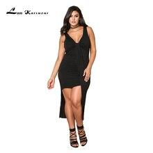 Lan Karswear Fat MM Summer Dress Sexy V-neck Sleeveless Bodycon Dress Plus Size Irregular Women Clothing Office Ladies Beach