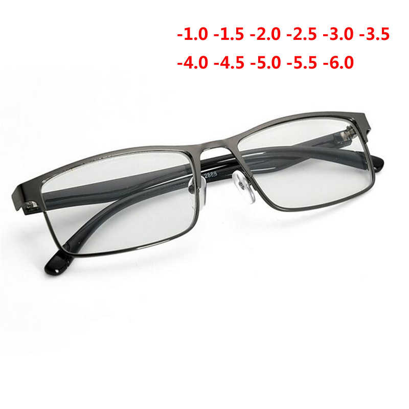 -1 -1.5 -2 -2.5 -3 -3.5 -4 To -6.0 Finished Myopia Glasses Women Men Retro Metal Frame Square Students Myopia Glasses For Unisex