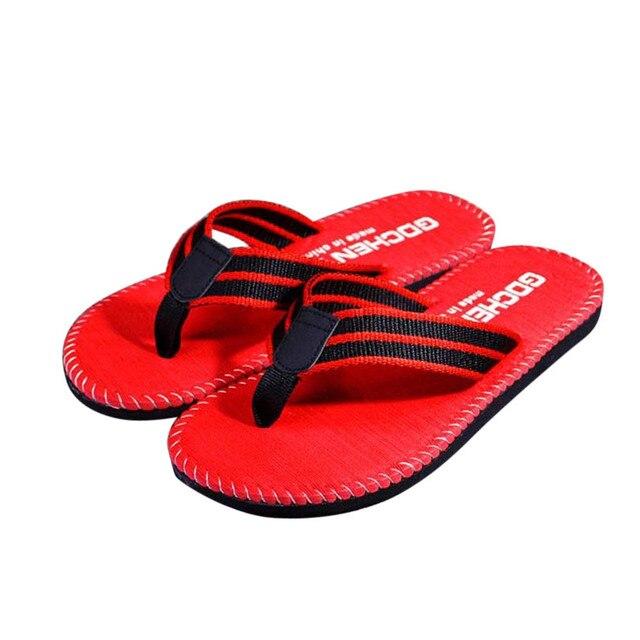 2017New Chegada Homens Tarja Verão Flip Flops Sapatos Sandálias Masculino Chinelo Chinelos moda praia sandálias sapatos para homens Por Atacado