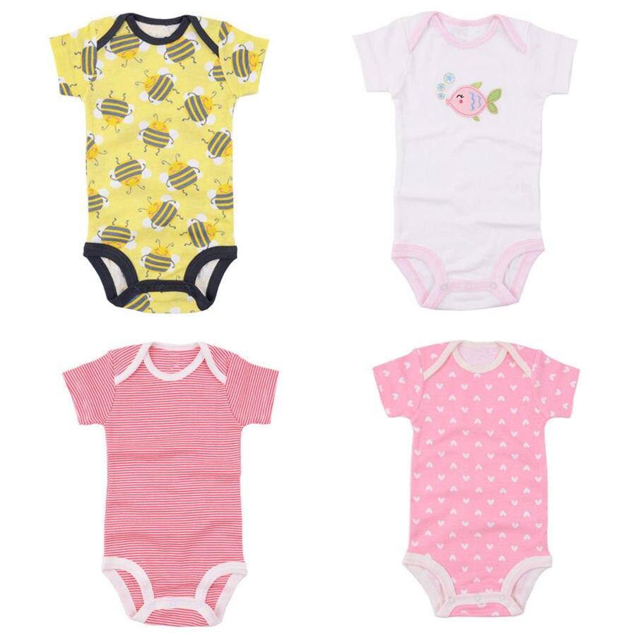 20528f350c7c 1 pcs Bebê Roupas Longas Bodysuits Algodão de Manga Curta O Pescoço Da  Menina Do Bebê