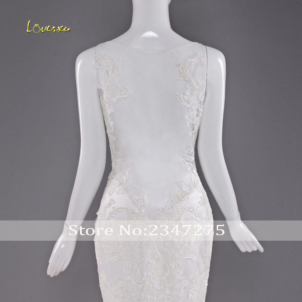 Loverxu Robe De Mariee Sexy Schatz nixe Hochzeitskleid 2017 Illusion ...