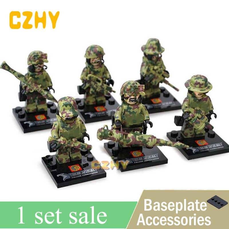 Custom SET 6pcs Russian Army MILITARY Snow Soldiers WW2 CS SWAT Minifigure Lego