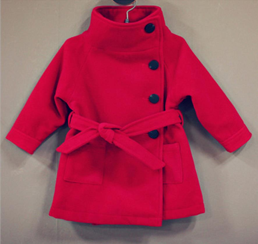 Fashion Winter Jackets For Girls 2016 Woolen Outerwear Thick Double Layer Kids Coat Girl Long-Sleeved Wth Belt Children's Jacket