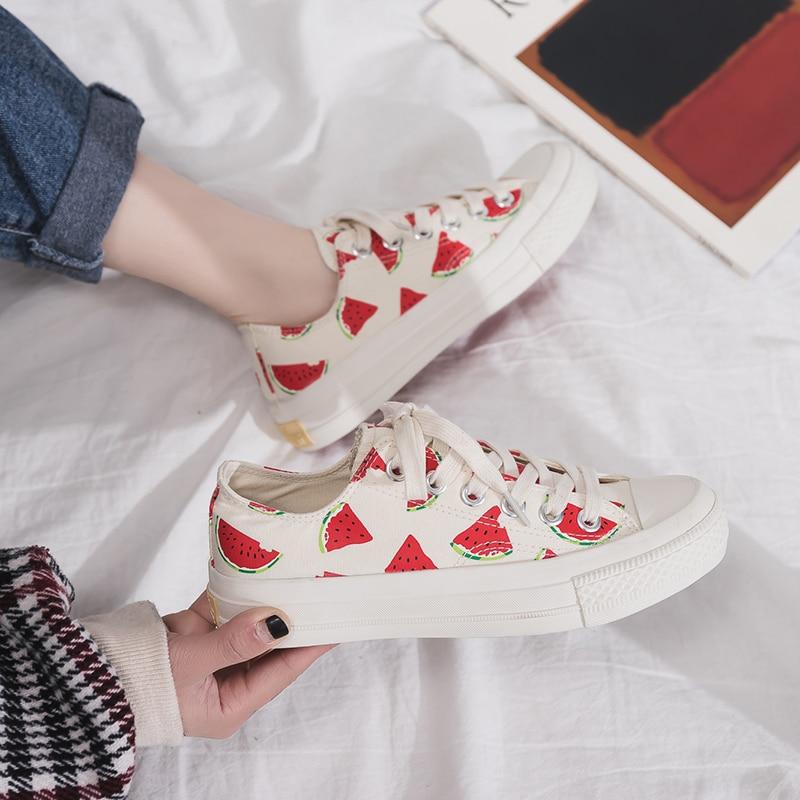 SEERTED Summer Watermelon Pineapple Blue Cartoon Canvas Sneakers for Women
