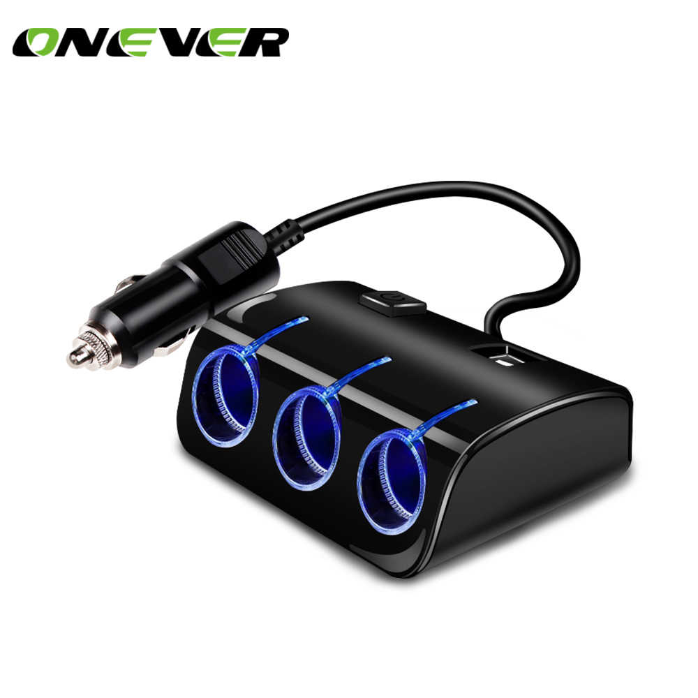Onever Dual USB Port 3 Car Cigarette Lighter Plug Power Adapter 120W 5V Output Car Cigarette Lighter Socket Splitter Charger 12V