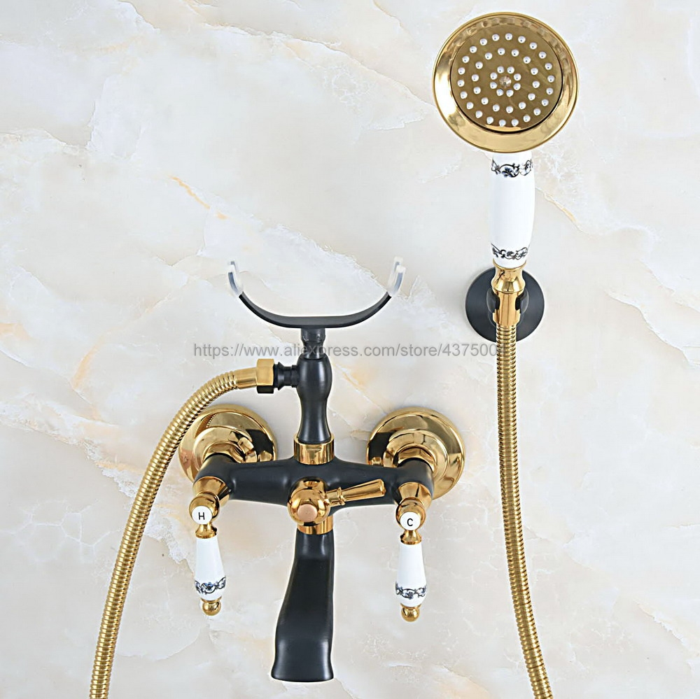 Bathtub Faucets Black Gold Brass Shower Faucets Dual Handle Wall Mounted Bath And Shower Faucet With Handheld Showers Ntf06Bathtub Faucets Black Gold Brass Shower Faucets Dual Handle Wall Mounted Bath And Shower Faucet With Handheld Showers Ntf06