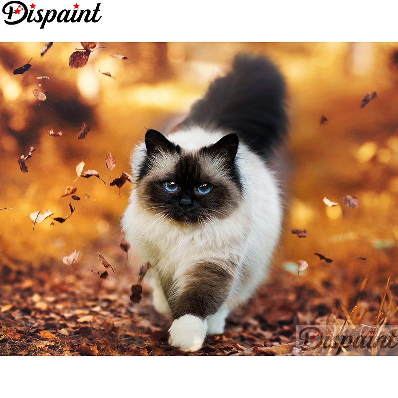 Dispaint Full Square/Round Drill 5D DIY Diamond Painting Animal cat Embroidery Cross Stitch 3D Home Decor A11993 image